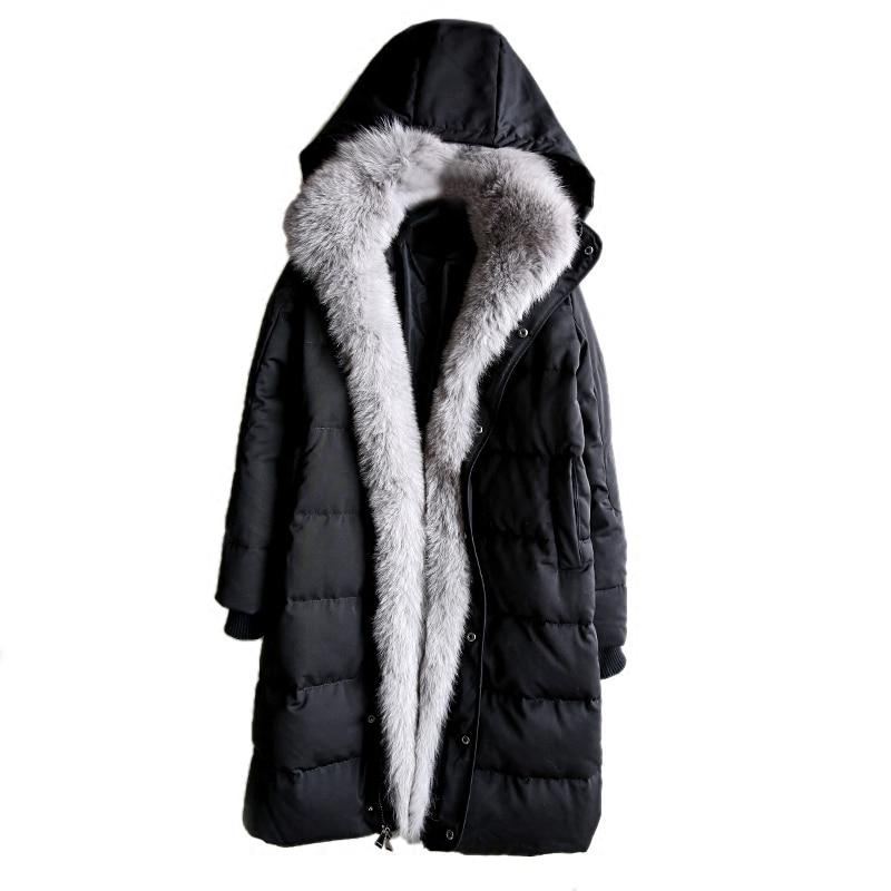 Fourrure Parka black Le Col Vers À Renard 100 White Européen Capuchon Naturel Vêtements gray Bas Longue Femelle Whf105 Fox Style Luxe Chaud Réel Patte Manteau De qSwzqPX