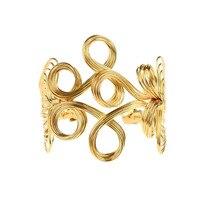 1 Pc Vintage Flower Pattern Iron Cuff Bracelet Hollow Out Bangle For Women Retro Metal Gold