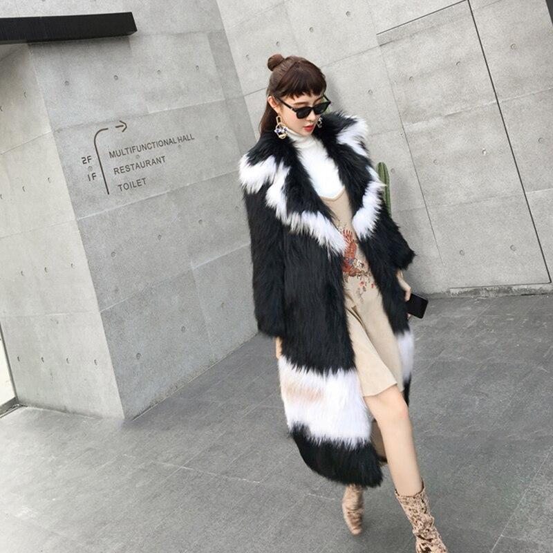 Noir Femmes Printemps Renard Manteau Slim Mince Manteaux Perte 2018 Réel Lvchi Naturel Fourrure Rayé De Nouveau Gradient Moyen 8YxPTw5wq