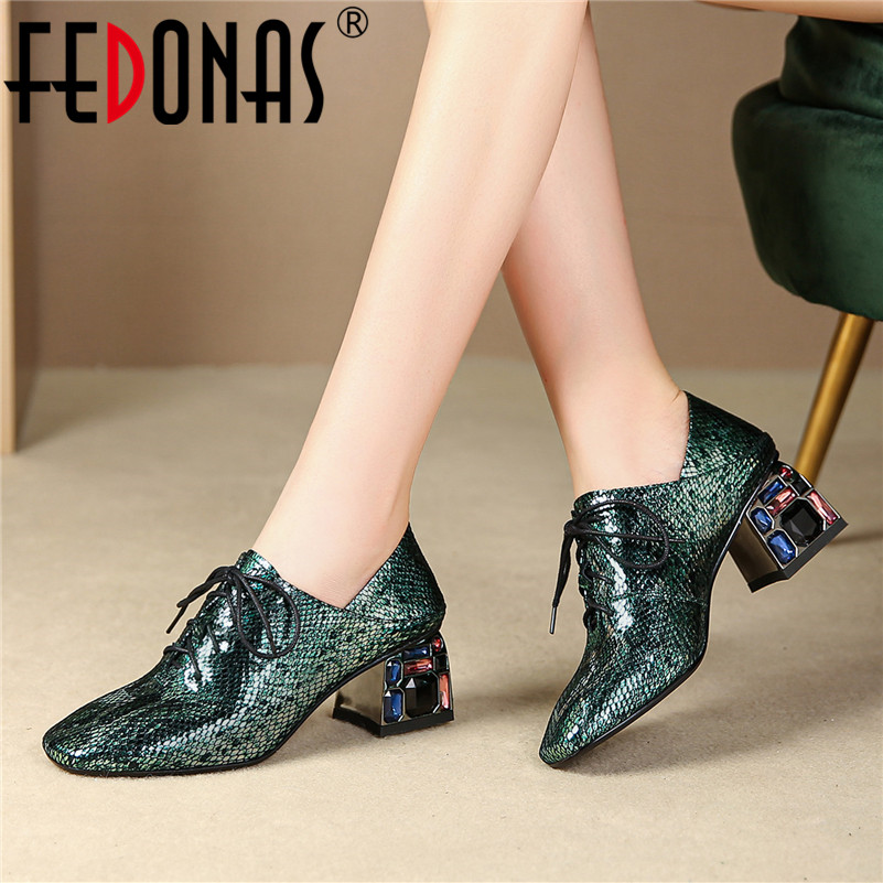 FEDONAS 2019 New Spring Summer Solid Rhinestone Decoration Party Single Shoes Woman Brand Square Toe High Heels Cross-tied Pumps