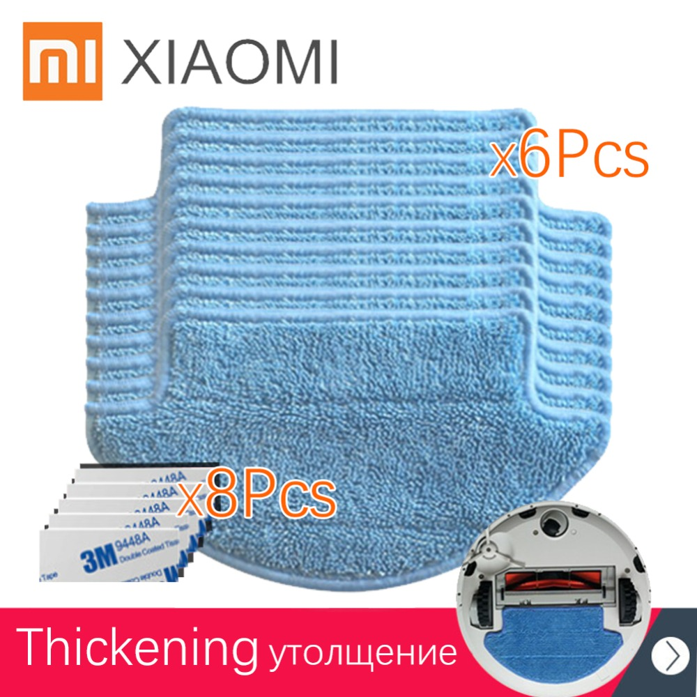 все цены на 14pcs/set original Xiaomi thickness Mi Robot Vacuum Cleaner Parts kit ( mop Cloths*6+magic paste*8) aspirador онлайн