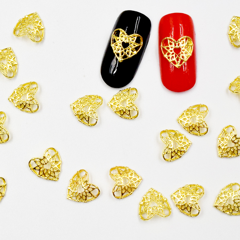 50Pcs new Gold Heart nail stickers, 3D Metal Alloy Nail Art Decoration/Charms/Studs,Nails 3d Jewelry nail supplies H132 4000pcs 12 color nail art rhinestones sticker diy 3d nails metal manicure decoration beads jewelry studs wheels free shipping