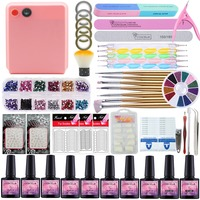 Manicure Set 36W UV Lamp For Nails Set For Gel Nail Polish 8 Colors Set For Manicure Top and Base Nail Extension Set Nail Art