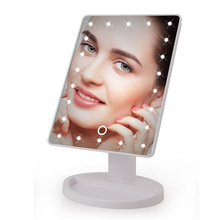 Portable Touch Screen LED Makeup Mirror Cosmetic With Lights Foldable Beauty Adjustable Countertop 180 Rotating