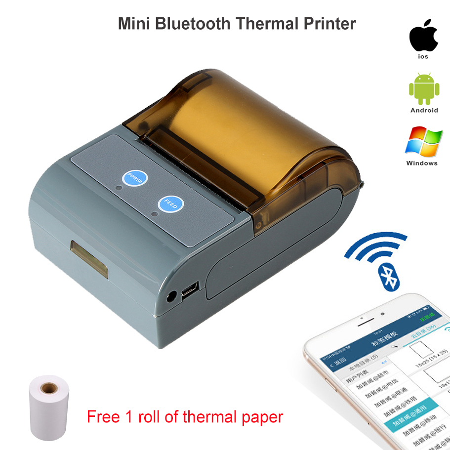 Mobile Mini 58MM Bluetooth Thermal Printer Portable Wireless POS Receipt Machine for Windows Android iOS radall 58mm bluetooth thermal receipt printer portable mini bluetooth printer for android and ios mobile pos printer rd 1805dd