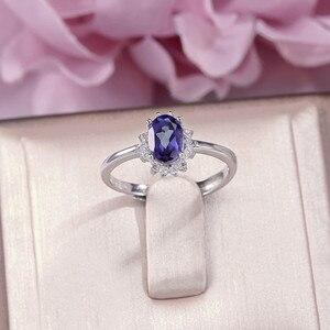 Кольца из натурального Поделочного Камня для женщин, хорошее украшение, 100% S925 серебра 7*5 мм, танзанитовый синий овальный белый золотой цвет, ...