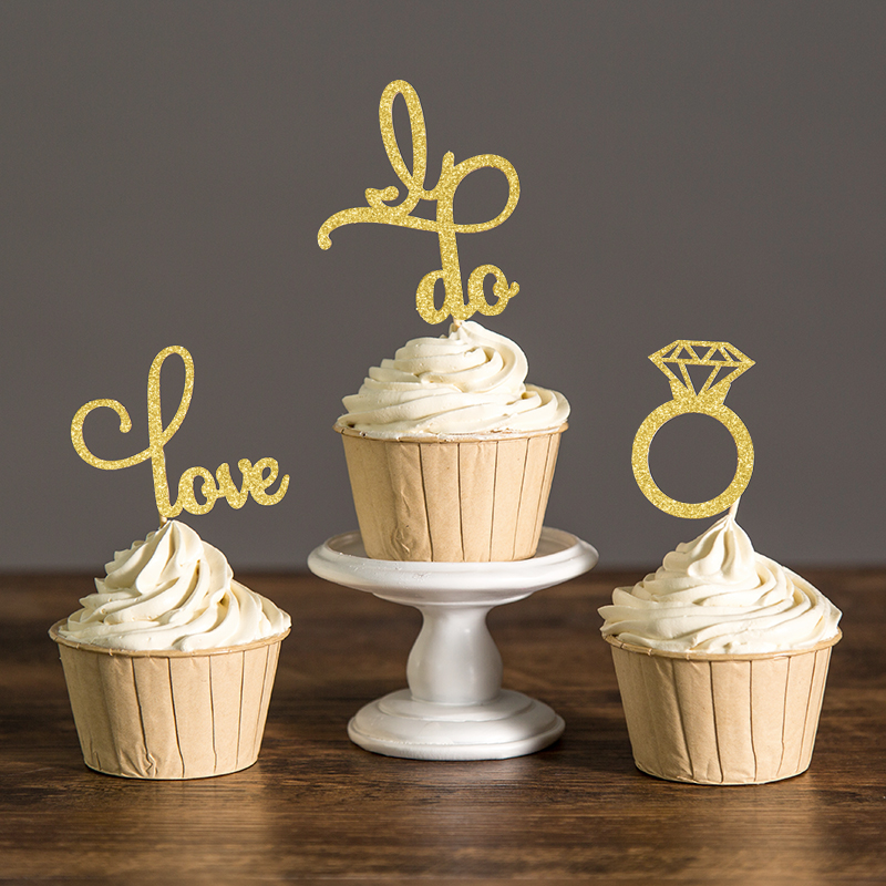 12pcs Wedding Decoration Cake Topper Gold Silver Black