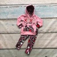 春のバレンタインの日バルク卸売たくさんキッズ女の子パーカー服xoxo衣装アステカ子供ブティックセット