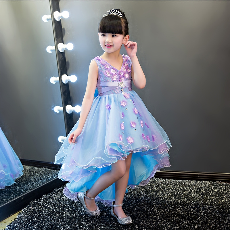 2017 High Quality Red Communion Dresses For Girl Lace Appliques Flower Girl Princess Dress for Wedding&Birthday Party Tutu Dress high quality lace girl dresses children dress party summer princess baby girl wedding dress birthday big bow pink for 100 160