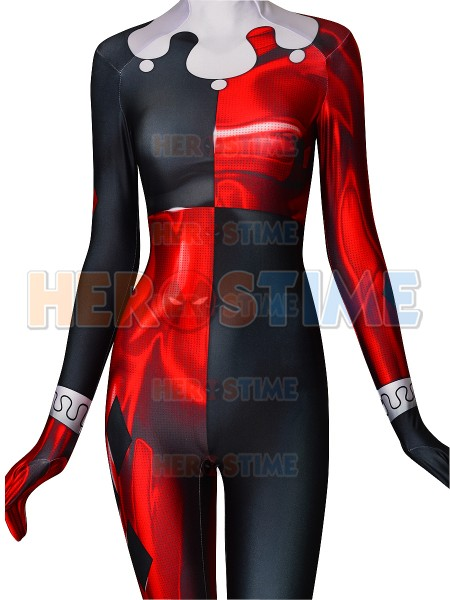 Quinn Super Villain Printed Cosplay Costume Halloween Zentai Catsuit Halloween Costume for Woman Custom Made