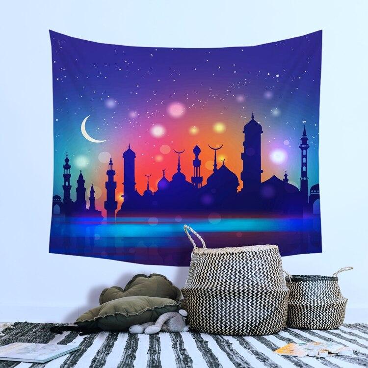 Taoup Eid Mubarak Tablecloth Ramadan Decor Islamic Table Cover Ramadan Kareem Accessories Ramadan Eid Tapestry Muslim Gift Party