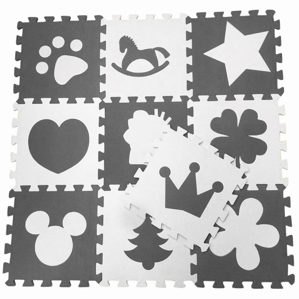 Marjinaa 10/20pcs Gray White Baby EVA Foam Puzzle Play Mat/ Interlocking Exercise Floor Carpet Tiles, Rug For Kids,Each31cmX31cm