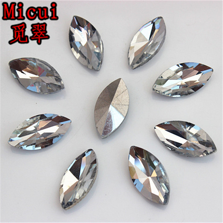 Micui 30PCS 9*18mm Clear Horse eye Crystal Tip back Rhinestones Glass Crystals For Clothes Dress Jewelry Decorations ZZ148C