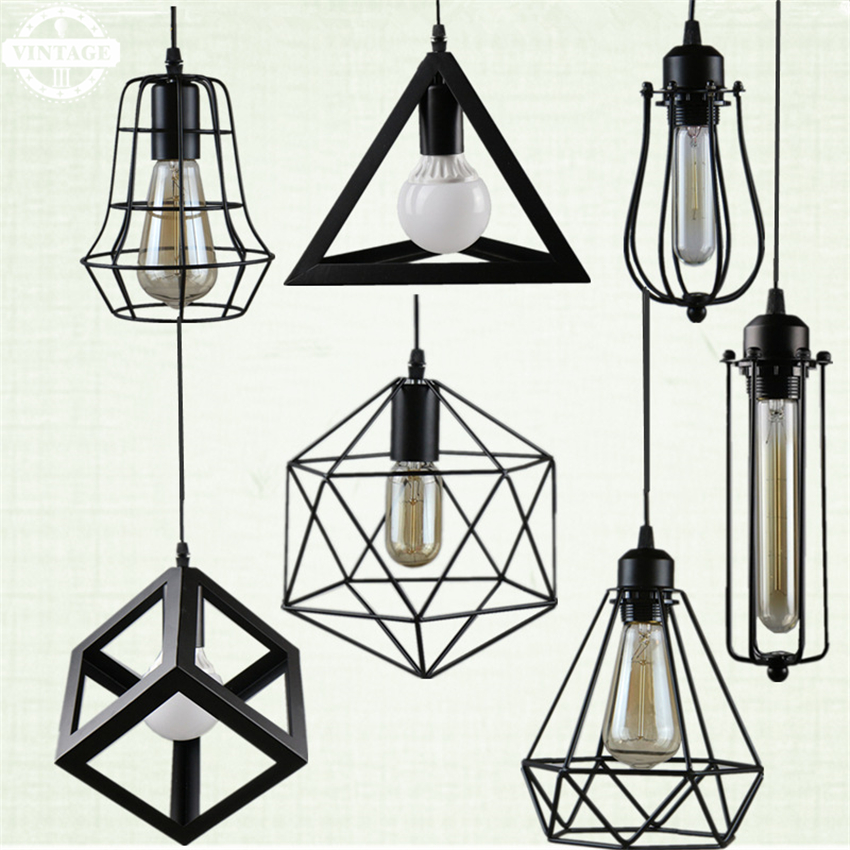 American country style simple Classic Black Iron Pendant Lights for cafe/dining room/ loft/bar creative Pendant lamps free shipping one sample order new style geometrical figure simple iron black finished pendant lamps dk 60