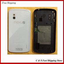 Original For LG Nexus 4 E960 Housing Case Rear Battery Door Cover With Back Glass + NFC Replacement