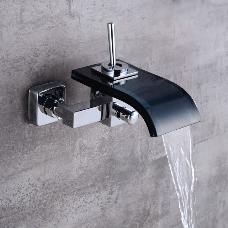 Free shipping waterfall black glass and chrome brass faucet wall ...