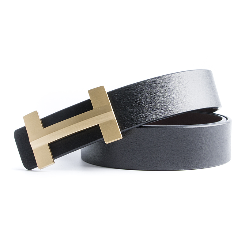 Luxury Solid Brass Designer 3.3cm H   Belts   with H Buckle Men High Quality Male Women Genuine Real Leather Strap for Jeans
