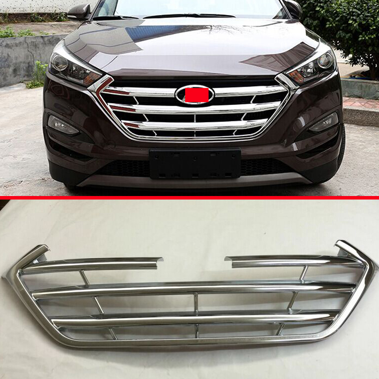 ФОТО ABS Chrome Front Grille Cover Trim For Hyundai Tucson 2016 2017