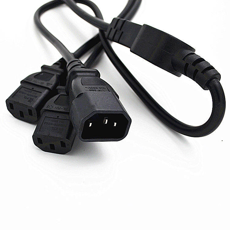 IEC 320 C14 Male Plug to 2XC13 Female Y Type Splitter Power Cord,C14 to 2 x C13 Power Adapter Cable,250V/10A,1 pcs комплект кабелей apc power cord kit 10a 100 230v 2 5 c13 to c14 ap9890