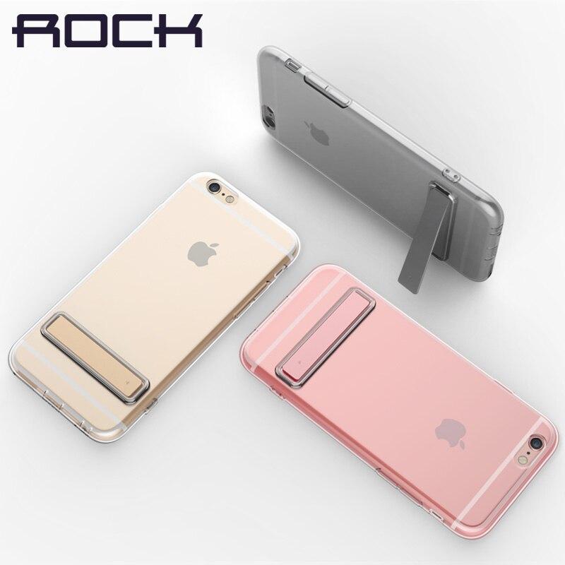 bilder für ROCK TPU Kickstand Case für iPhone 7 7 Plus 0,6mm Marke telefon Rückseite Fall Für iPhone 7 Plus Transparent Schlank Zurück fall