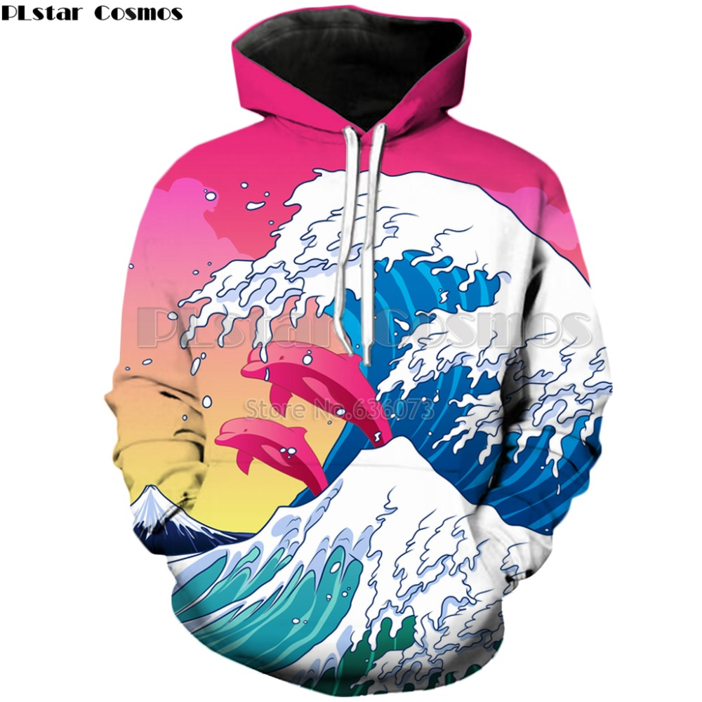 PLstar Cosmos 2018 Autumn New style Fashion Hoodies Mens Womens Hooded sweatshirt waves  ...
