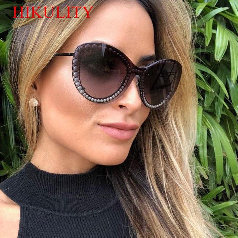 1ee46b135be Frameless One Piece White Pearl Sunglasses Women Men 2018 Luxury Brand  Eyewear Female Cat Eye Sun Glasses Black Gradient Shades