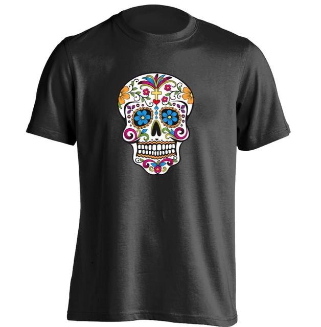 df164b426554b México flor dulce cráneo mens y camiseta personalizada T Shirt en ...