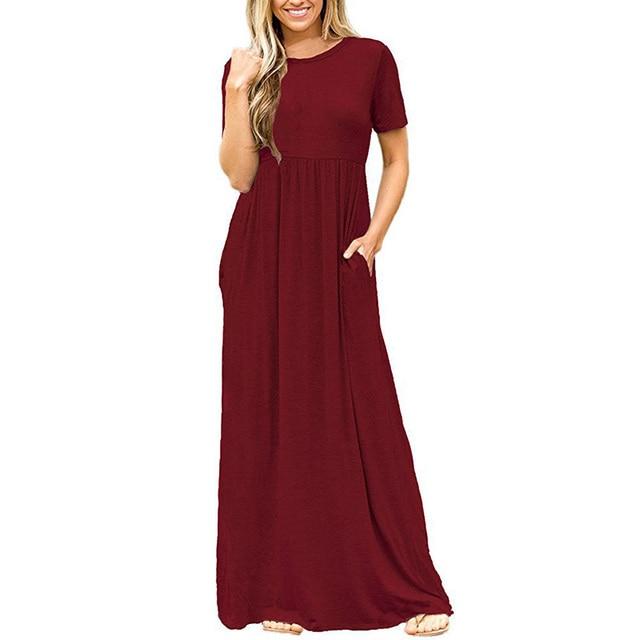 d51ef0c7d5c3 2018 Summer Dress Female Casual Loose Shirt Dress Womens Oversize Short  Sleeve Soild Long Maxi Dress With Pocket Robe Femme