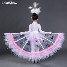 Танцевальный костюм; детская одежда; Национальный танцевальный костюм павлина для девочек; платье для выступлений павлина