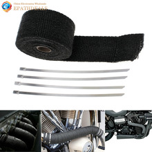 2″ 16.5Ft Roll Black Fiberglass Car Vehicle Exhaust Header Pipe Heat Wrap Tape Resistant Downpipe + 4 Ties Kit