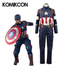 Captain Cosplay America Steve Rogers Costume Battle Suit Superhero Uniforme Per un Uomo di Età Di Natale Costume di Halloween
