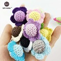 knitted crochet beads boho flower style Hand jewelry organic wooden balls baby teething toy babyshower mom gift coloful(30pcs)