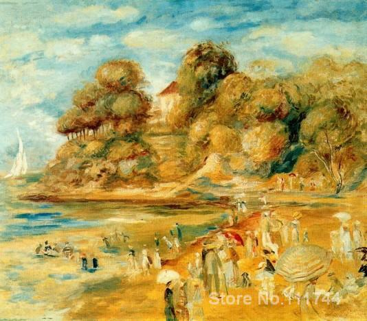 Impressionist landscapes art <font><b>The</b></font> <font><b>Beach</b></font> <font><b>at</b></font> <font><b>Pornic</b></font> by Pierre Auguste Renoir paintings Hand painted High quality