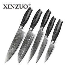 5 stücke küchenmesser set Japanischen 73 schicht Damaskus stahl küchenmesser koch cleaver schäl brotmesser holzgriff kostenloser verschiffen