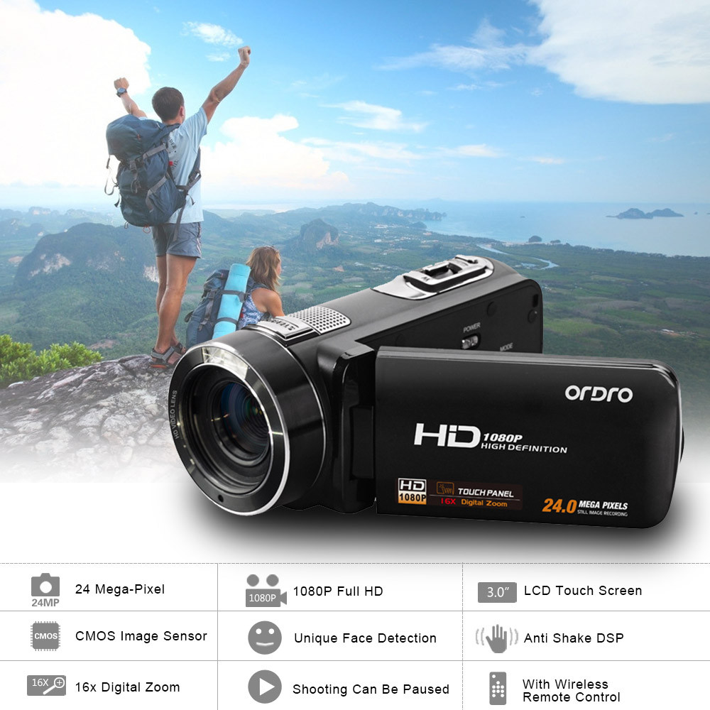 DHL Free Ship ORDRO HDV-Z8 Telescopic Lens 1080P Full HD 16X Zoom Digital Video Camera Camcorder with 3 Touch Screen Max 24MP 10pcs free dhl black touch screen