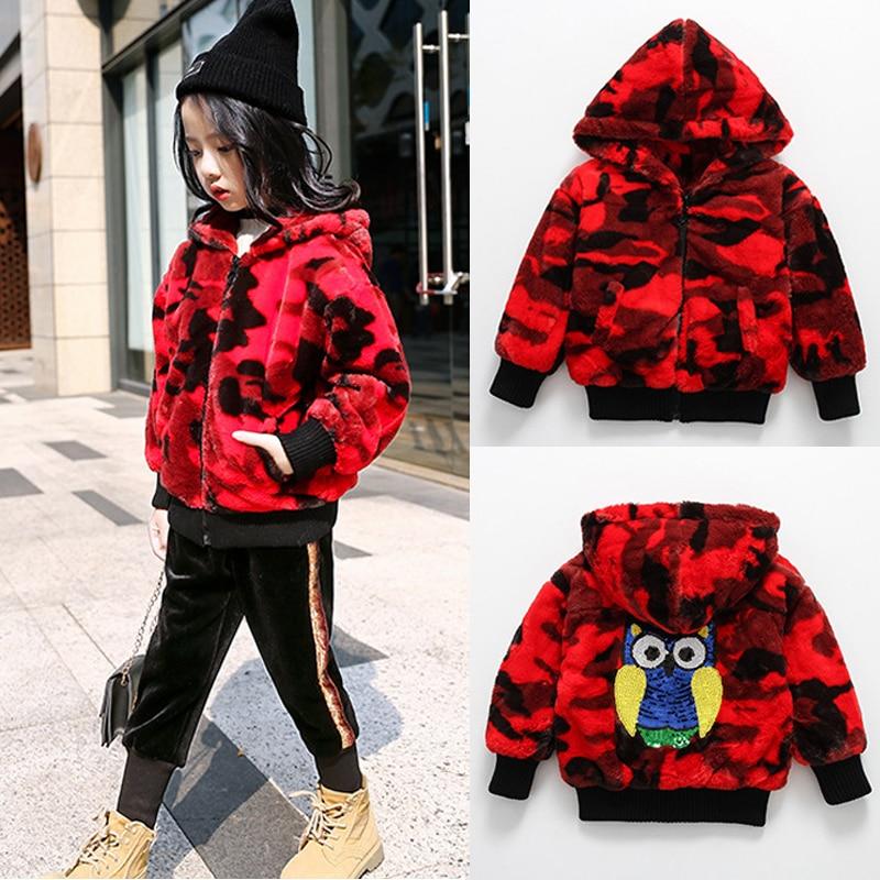 2018 Kids Girls red rabbit Fur Coat Winter Children Hairy fur Outerwear Jacket Warm Sequins baby fur coat Clothing kid girl coat стоимость
