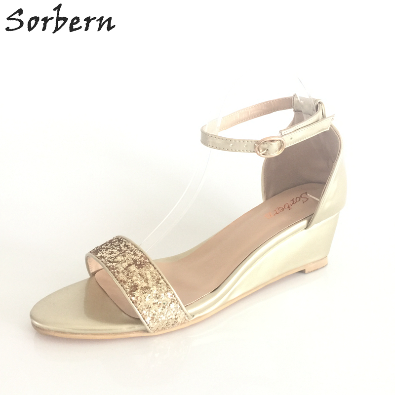 Low Heel Open Toes Gold Wedding Shoes Promotion Shop for