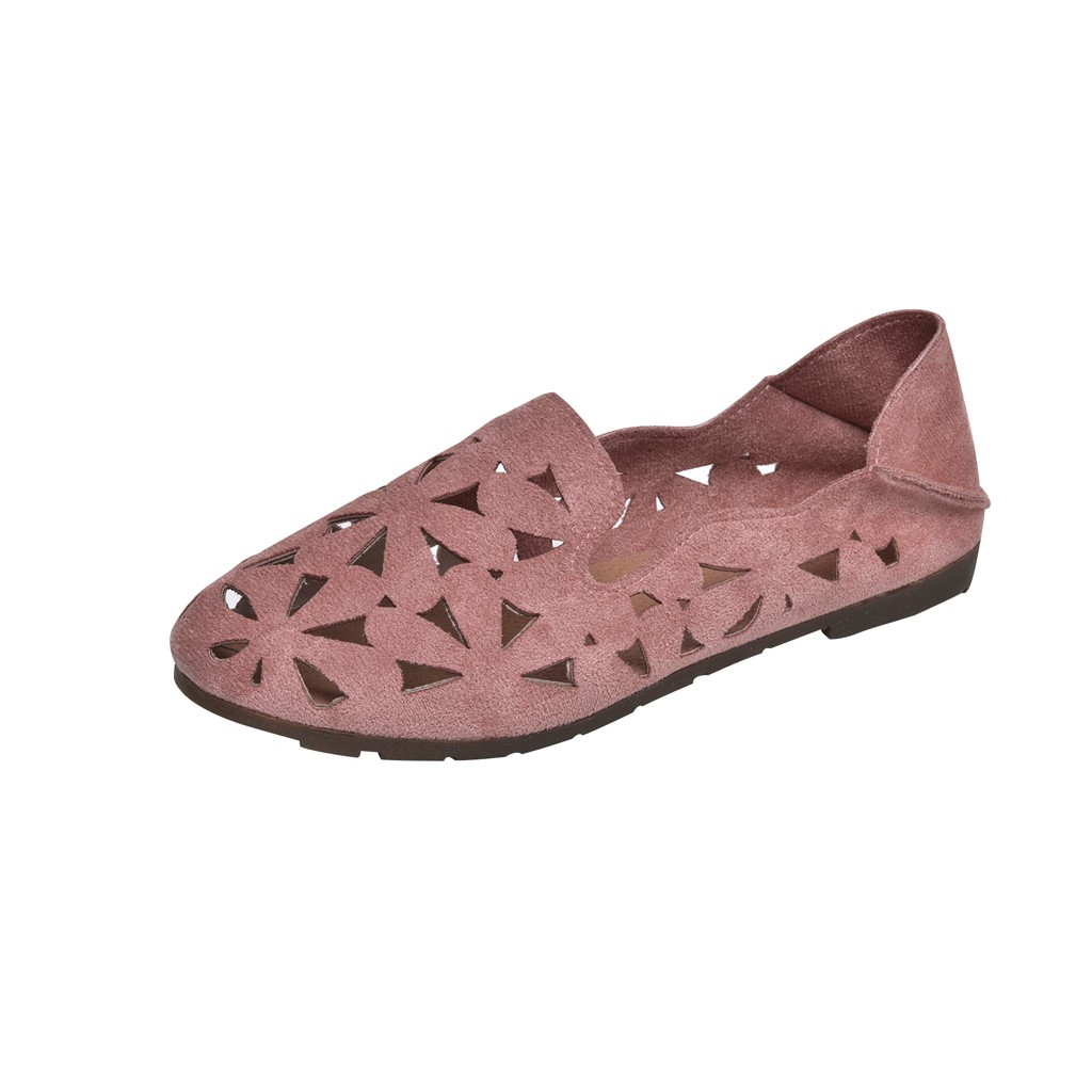 SAGACE Ladies Flat with Casual Solid Shoes Women's Fashion Summer Round Head Non-slip Two Penetrating Gas Casual Tide Shoes