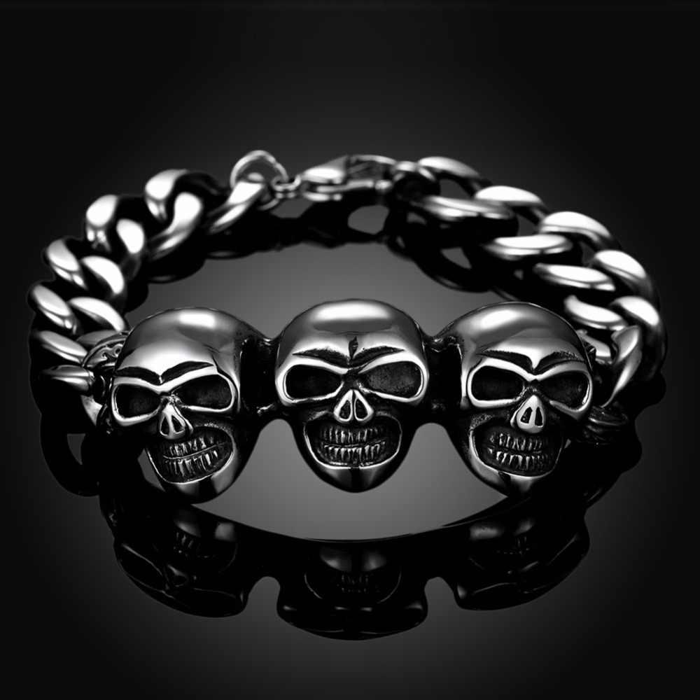 Fnixtar Punk Rock Style czaszka bransoletka mankietów bransoletki Link łańcucha mężczyzn ze stali nierdzewnej bransoletka 2017 biżuteria prezent nadgarstek