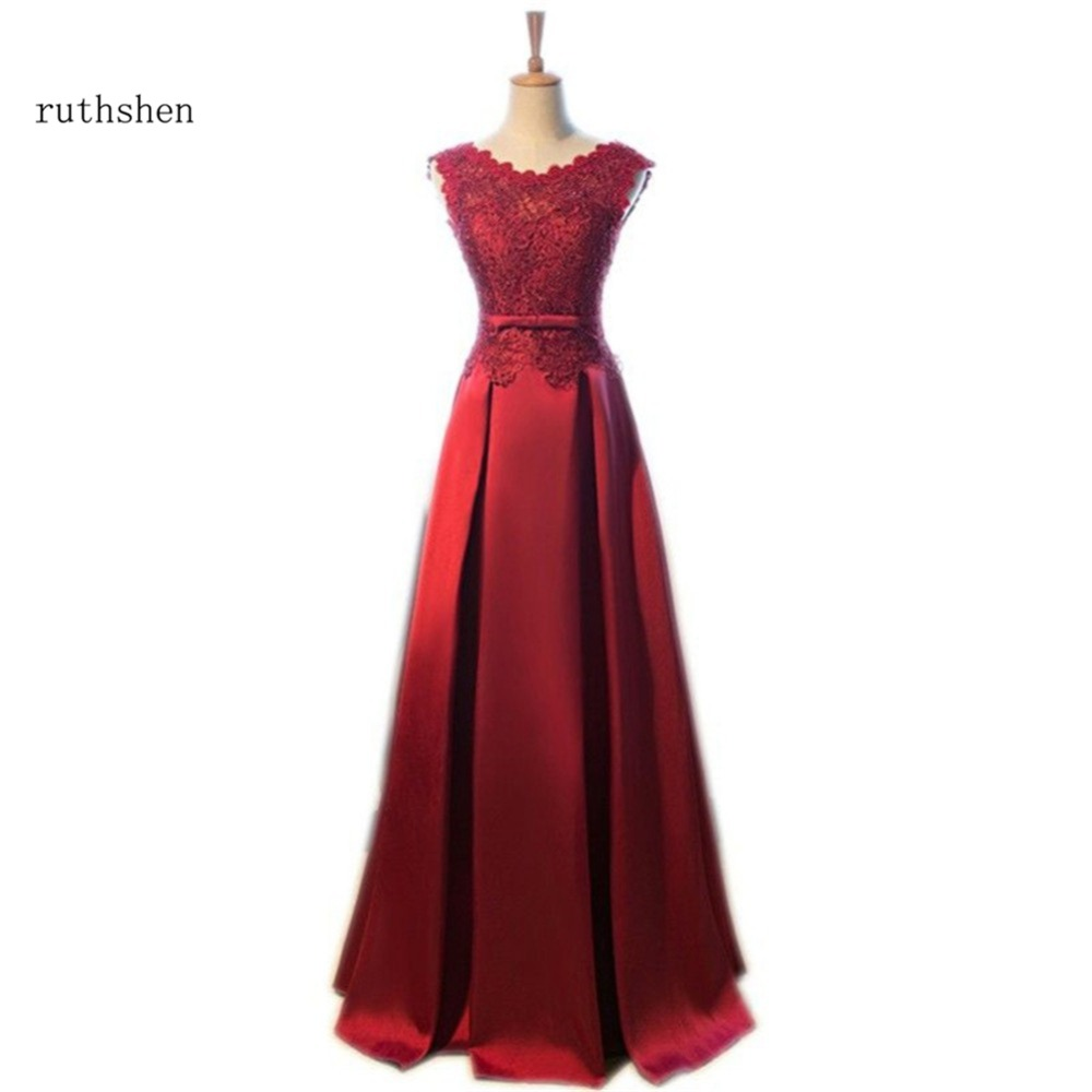 ruthshen Robe De Soiree 2017 Lace Satin Burgundy Prom ...