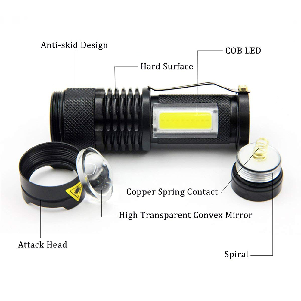 Portable LED Flashlight Q5 COB Mini Black 2000LM Waterproof Zoom LED Torch penlight Use AA 14500 Battery Lighting lantern in LED Flashlights from Lights Lighting
