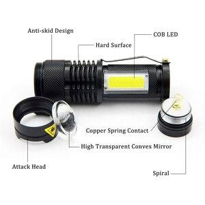 Image 4 - Портативный светодиодный мини фонарик Q5 + COB, черный водонепроницаемый масштабируемый светодиодный фонарь, фонарик с аккумулятором AA 14500