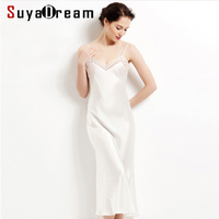 100% pure silk long nightgowns women Sexy sleepwear Home dresses SILK nightdress SATIN nightie Summer style dress White Black