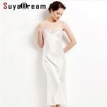 100% real de seda longo camisola feminina maxi vestido branco preto seda sleepdress renda v pescoço elegante sleepwear 2020