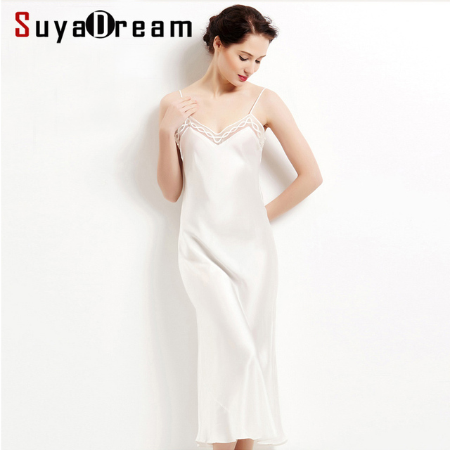 d284c4f46 100% seda pura camisolas longas mulheres vestidos de camisola DE SEDA  camisola DE CETIM Sexy