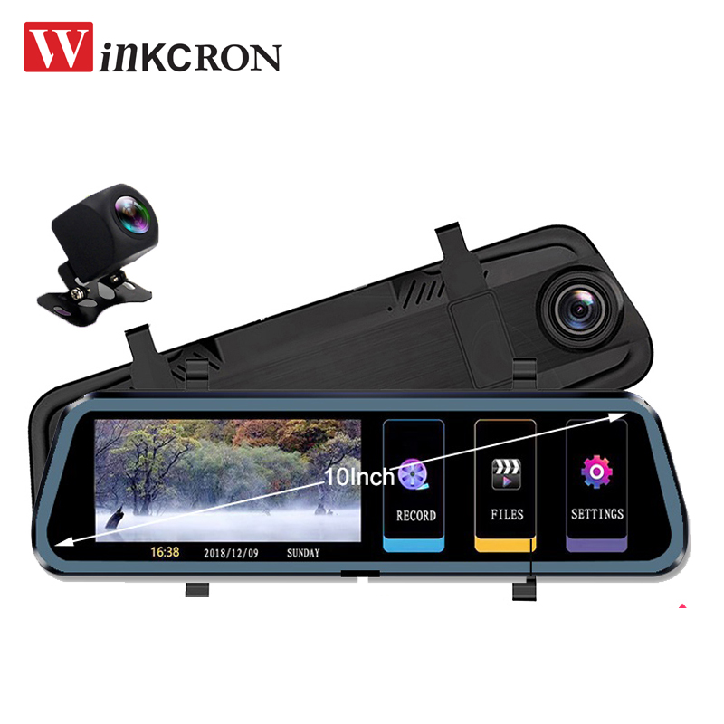 Car DVR Video-Player Rearview-Mirror Dual-Camera Stream Full-Hd Media Touch 1080P IPS
