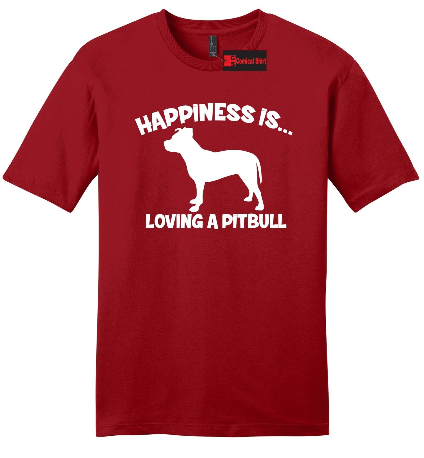 Happiness Is Loving A Pitbull Mens Soft T Shirt Bully Pitt Lover Dog Gift Tee Z2T-Shirt Summer Style Funny