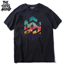 COOLMIND QI0311A cool loose o neck summer printed casual men T shirt short sleeve 100 cotton