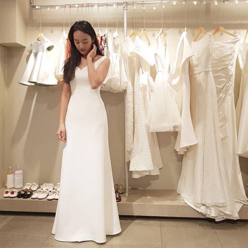 Simple Beach Wedding Dress V-neck Sleeveless A-line Bridal Dress White Ivory Elegant Vestido De Novia Cheap Korea Bridal Gowns