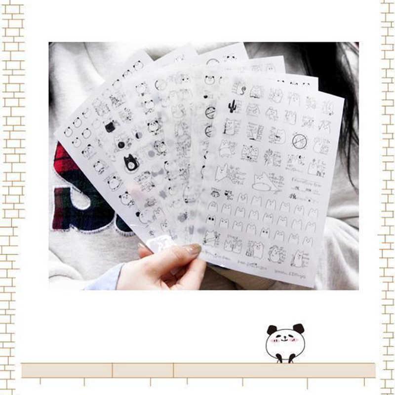 Новые поступления! 6 листов/Набор милый мультфильм голова панды ПВХ наклейки для Фотоальбом Дневник упражнения книга украшения